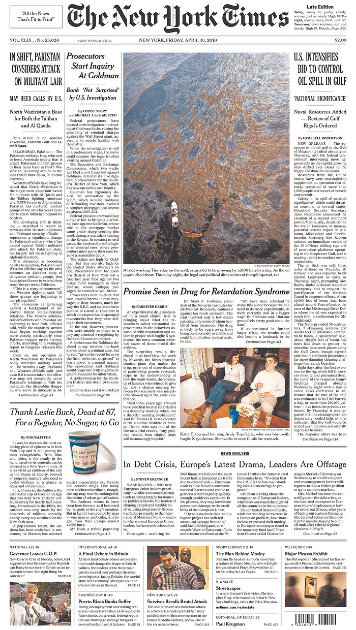 New York Times Front Page Printed Edition! » The In(-)Between